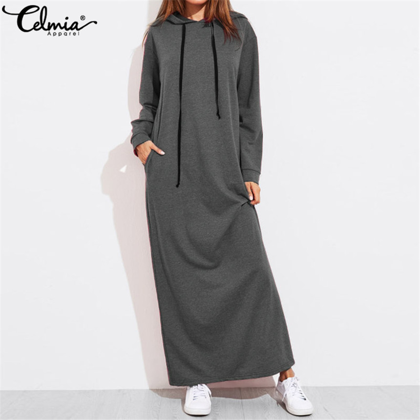Celmia 2019 automne femmes Vintage Hoodies Maxi Robe décontracté solide à manches longues poches à capuche robes longues Vestidos Robe Femme 5XL