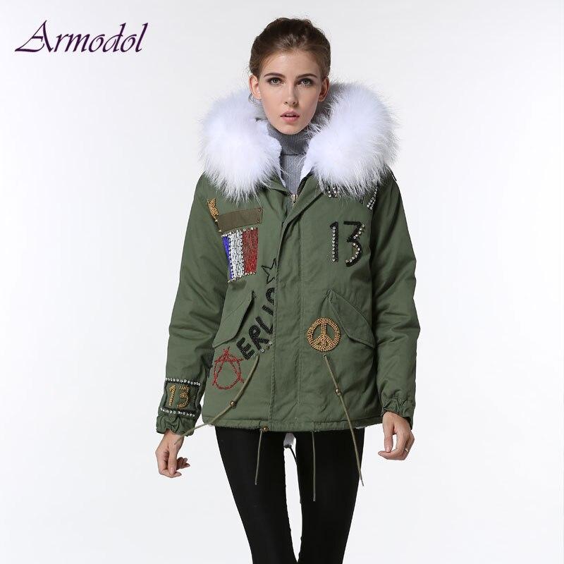 France Style Flag Beading Winter Parka Women Jacket Big Raccoon fur Hooded Fashion Beading Winter Short Windcoat Free shipping