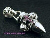 Крест и череп Твердые серебряные чисто apotropaic пуля серебряные подвески