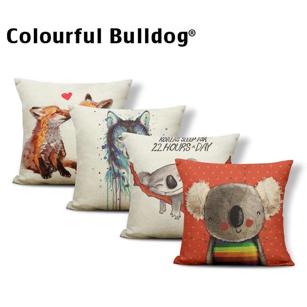 Animal Wolf Cushion Cover Word Flowers Pillowcase Fox Chic Car Nap Mat Geometry Stripe Throw Pillows Koala Red 45*45 Linen Photo