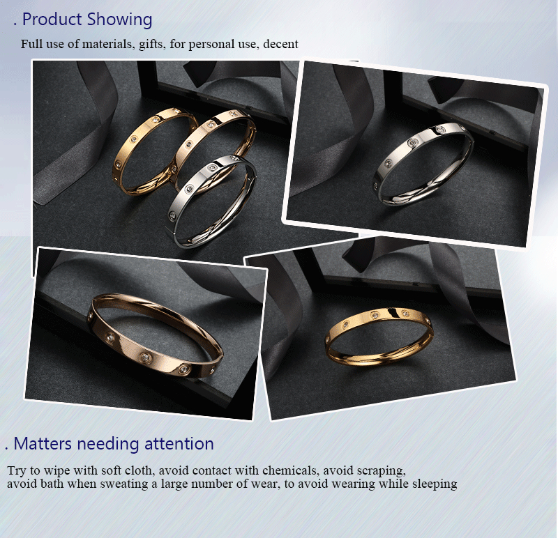 Trendy Rose Gold Love Bracelets Bangles Women Gold Color Stainless Steel Charming CZ Cuff Bracelet Lovers Luxury Brand Jewellery 6