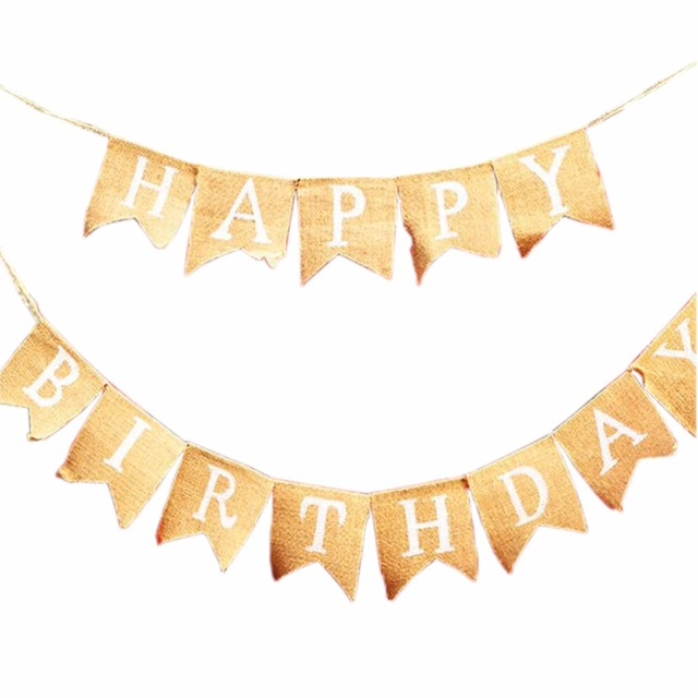 Happy Birthday Jute Burlap Banner