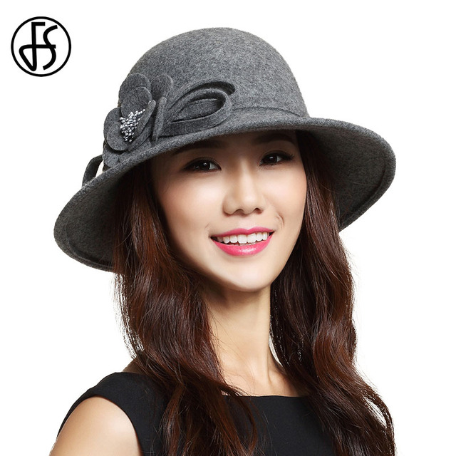 FS Wide Brim Winter Fedora For Women Wool Felt Cloche Hat Elegant Floral Church  Hats Chapeu Fedoras Bowler Caps Gray 68cef31fb9c