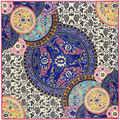 100 см * 100 см Евро Марка Китайские синие и белые шарфы Итальянский дворец ретро большой тяжелый шелковый шарф twill шаль, Платок 6135