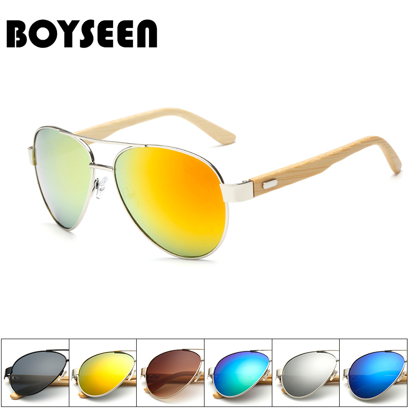 BOYSEEN Pilot Bamboo Sunglasses Women Men Gradient Mirrored Sun Glasses Anti UV Spectacles Wooden Eyewear 1510