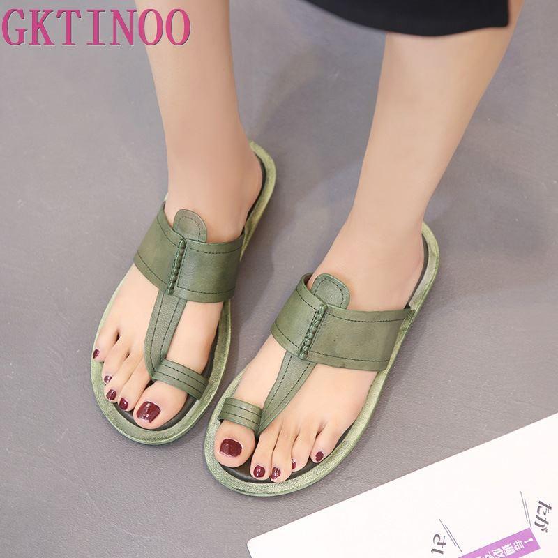GKTINOO Comfortable Summer Women Sandals Slippers 2019 New Summer Genuine Leather Casual Sandals Flat Slippers Women