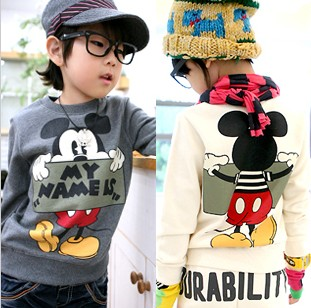 Children's new cartoon Plush thickening long sleeved T-shirt casual cute style special free shipping