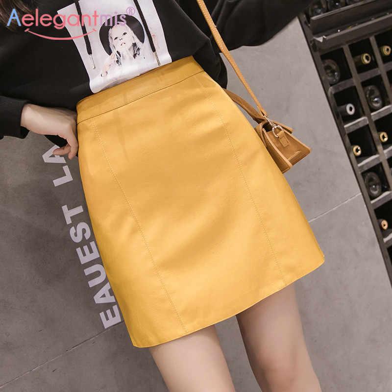 Aelegantmis Sommer Mode Elegante Frauen Pu Leder Rock Casual Hohe Taille Mini Rock Damen A-linie Kurze Röcke Schwarz Gelb