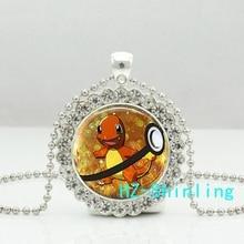 New Charmander Pokeball Crystal Neckalce Glass Pokemon Pendant Anime Photo Jewelry Pendants Necklaces Silver Ball Chain