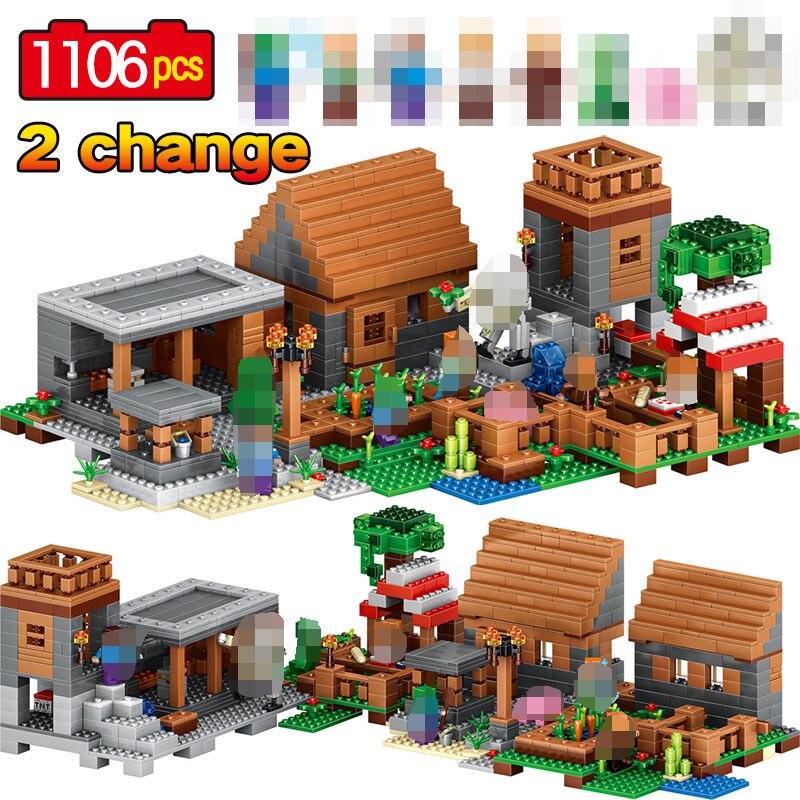1106 pièces My World Farm Village Ghoust maison blocs de construction compatibles avec les briques de ville Minecrafted jouet pour les enfants