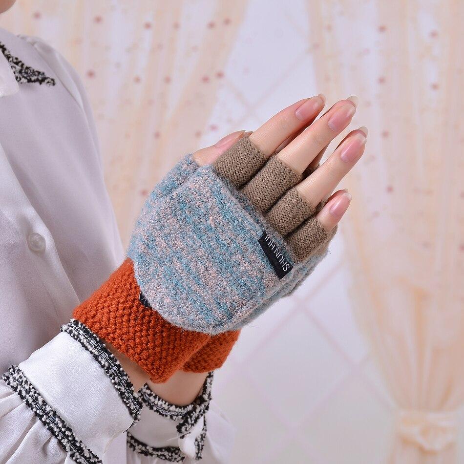 Stretch Knit Gloves Short Fingerless  Soft Warm Gloves