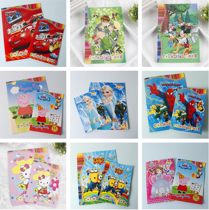 small size kids cartoon coloring book with stickers children drawing sketch painting graffiti elsa cars despicable - Painting Color Book