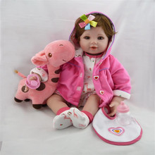 20 inch 50 cm  beautiful  baby reborn Silicone  dolls, Beautiful coat Lovely short hair doll Festival gift