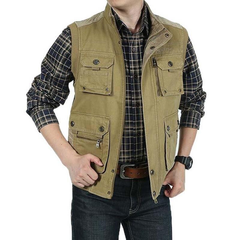 M1 Fashion Vest Autumn Coats Plus Size 6XL Mens Vests Cotton Leisure Reversible Waistcoat Man OUTWEAR Tops