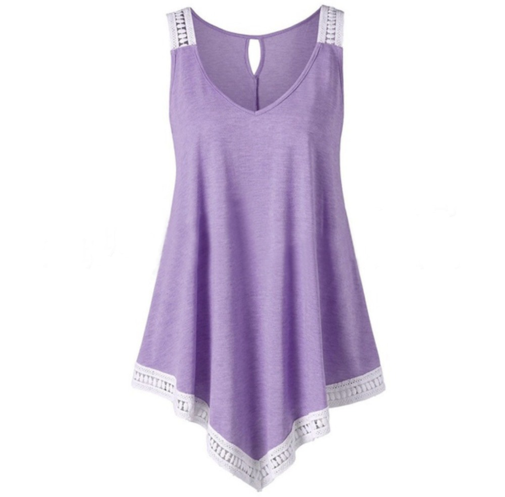 Summer   Tanks   Women Lace   Tops   Tees Irregular Sleeveless   Tank     Top   Casual Solid Beach   Tank   Sexy Female Long Vests   Top   Plus Size 5XL