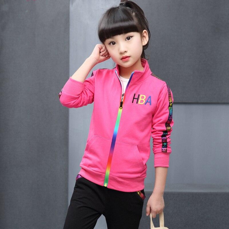 Vestuário crianças 2019 nova Primavera Outono Manga Longa movimento terno das Crianças Com Zíper de Algodão casaco + calças Do Bebê Roupas de Menina