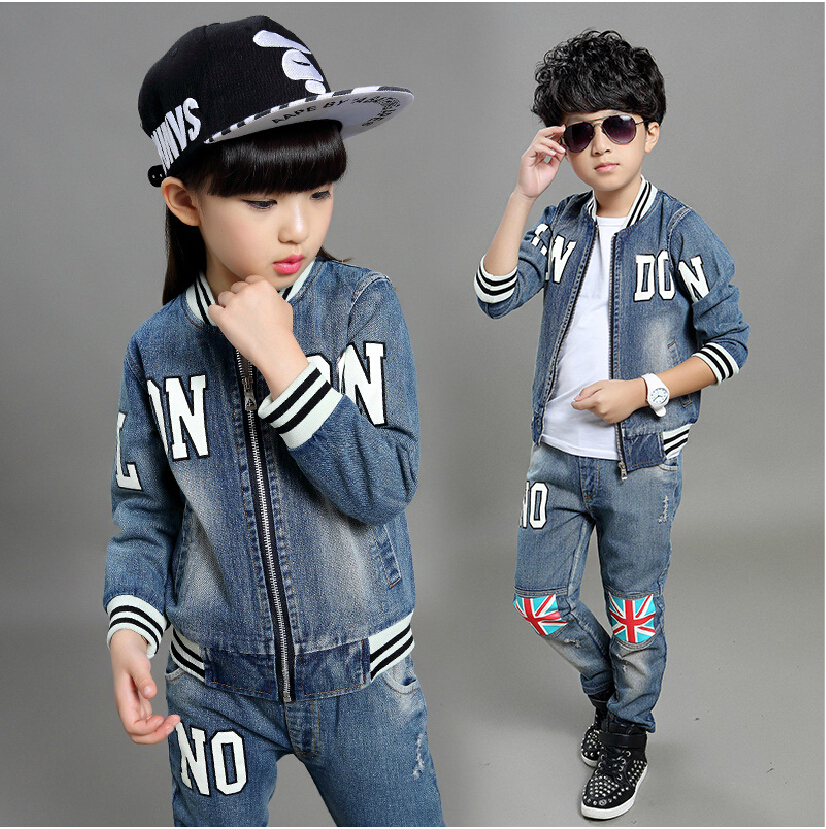 Children clothes boys girls jeans sets two piece outwear jacket + pants long sleeve O-neck letter causal denim suits new autumn sweet girls sets two piece cardigan outwear cape jacket long sleeve dress cotton lace kids girls clothes sets