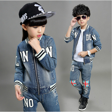 Children clothes boys girls jeans sets two piece outwear jacket + pants long sleeve O-neck letter causal denim suits