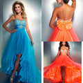Energetic Orange Chiffon Prom Dresses Sweetheart Crystal Bodice Hi-Lo Special Occasion Women Dress 2017 P9004