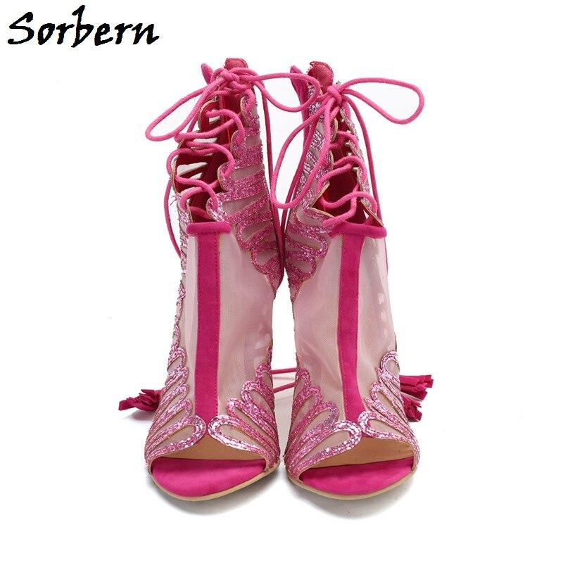 Talons Mode Glissière Femmes Respirant Chaussures Pour Peep Sandales À Rouge De Toe Rose Dames Gladiateur D'été Haute Sorbern Maille wnq8a0xn