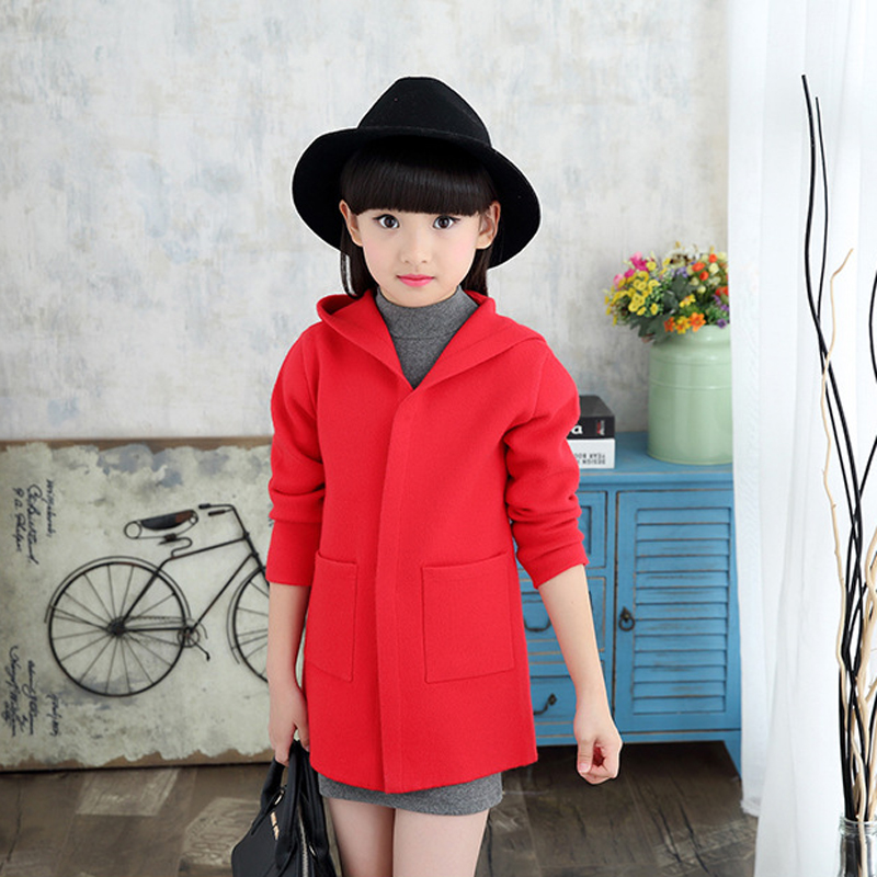 ФОТО 2016 Winter and Autumn New arrived Kids Sweater Hooded coats for Girl Baby girls Cardigan teenagers Woolen coat children jacket