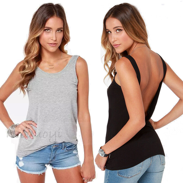 9c4dd9a6d161c8 XS XL XXL Ladies Natural Color Open Back Tank Top Women Basic Backless  Casual Design Black Tops Simple Style Back Off Grey Tanks