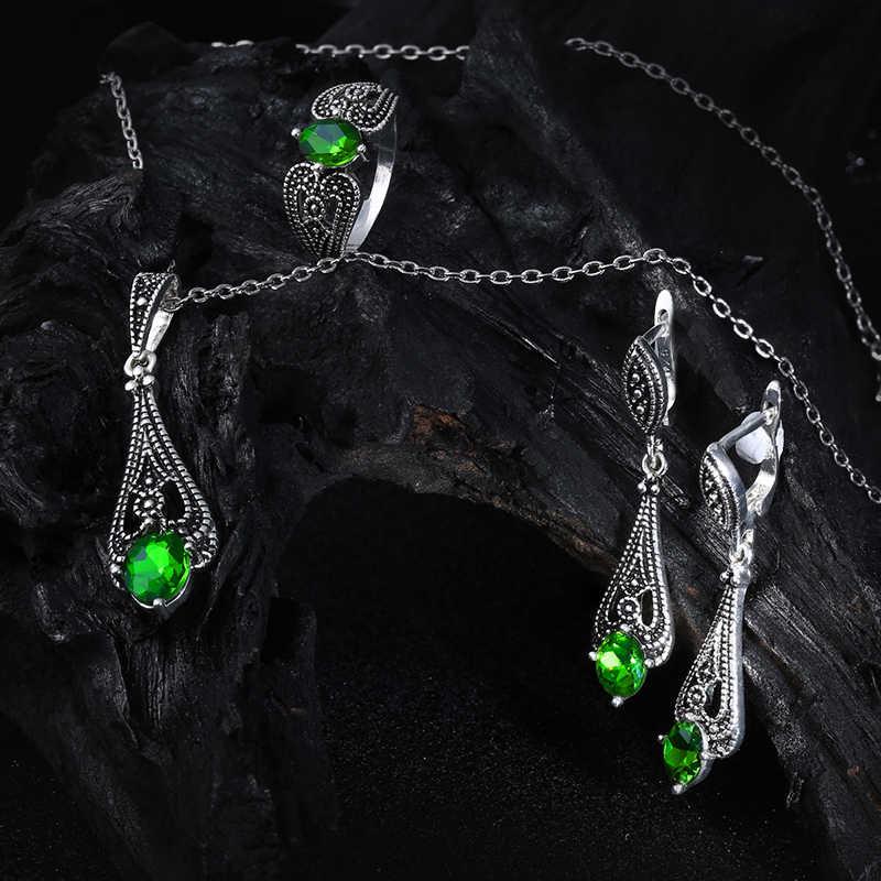CC Schmuck Silber Farbe Vintage Grünen Stein CZ Set Halskette Ohrring Ring Mode-Set Für Frauen Party Geschenk CCAS117
