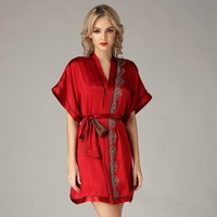 100% Pure Silk Womens Lace Dressing Robe Night Gown Only Size M L XL