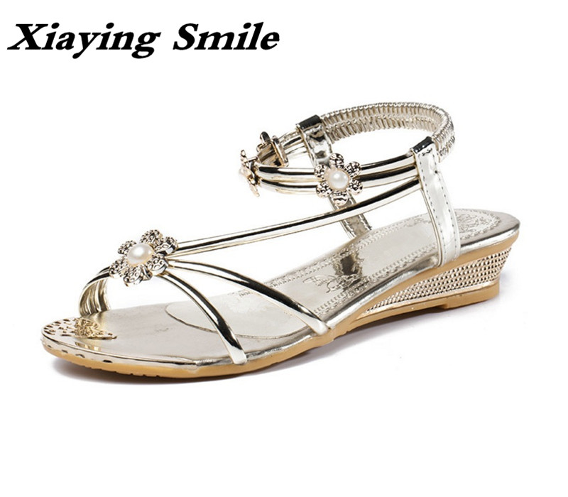 Xiaying Smile Summer Woman Sandals Fashion Casual Ladies Shoes Buckle Strap Beach Women Flats Metal Decoration Pearl Women Shoes xiaying smile new summer woman sandals shoes women pumps platform fashion casual square heel buckle strap open toe women shoes