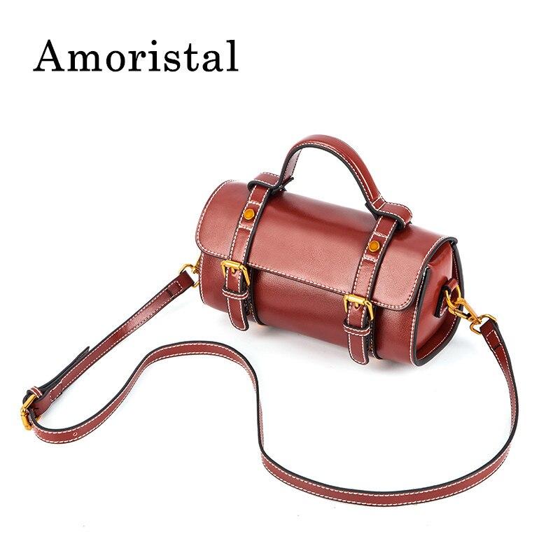Genuine Leathe Vintage Handbad Bag Women Shoulder Bag Fashion Messenger Bag Design Satchel Package Boston Bags 22*10*11.5cm B252 vintage engraving and fringe design women s satchel