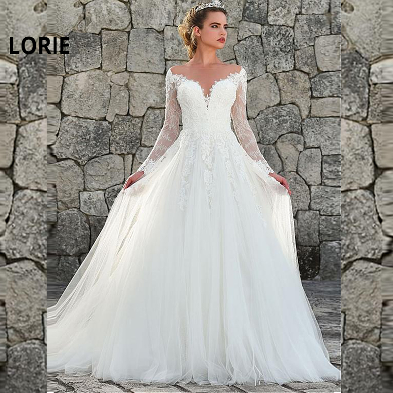 LORIE 2019 Nice Tulle & Lace Jewel Neckline A-line Wedding Dress With Lace Appliques Wedding Gowns Long Sleeve Vestido De Noiva