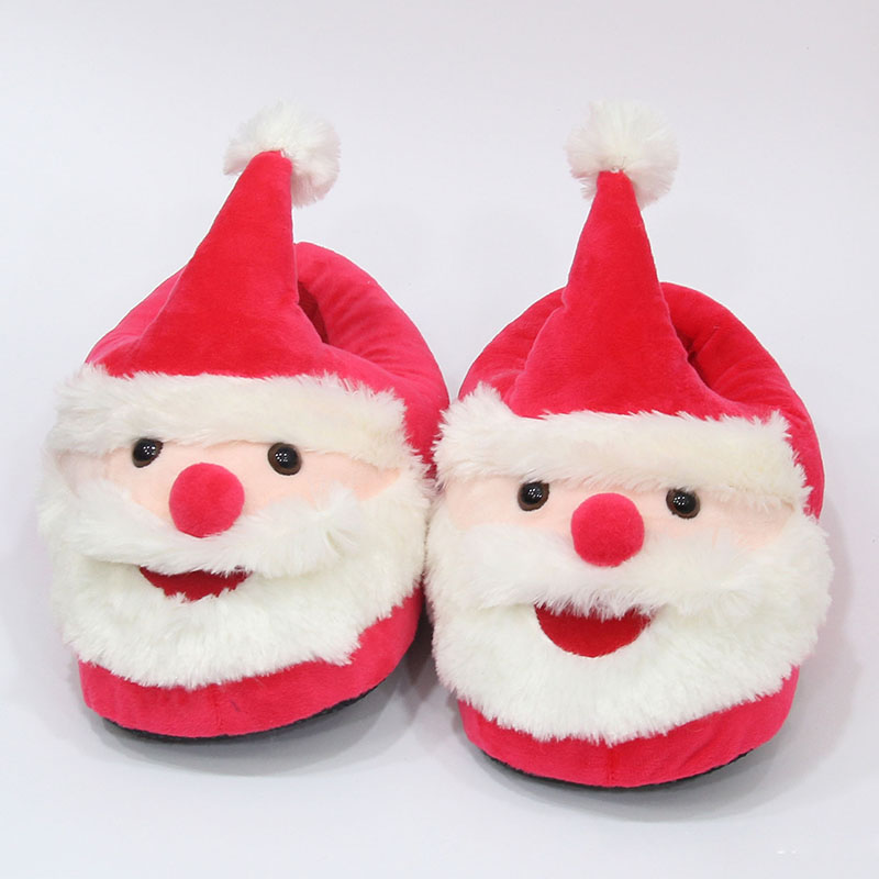 Merry Christmas Cute Santa Plush Indoor Slippers For Adults Kids ...