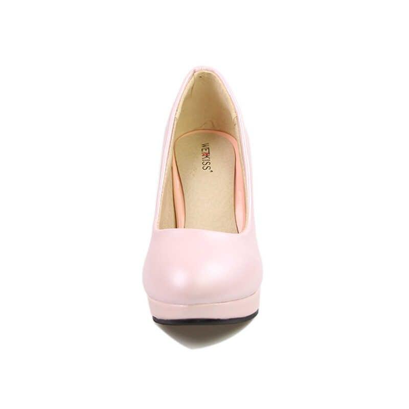 Büyük Boy 32-48 Katı Kadın Pompaları Zarif Seksi Sığ Pompaları Başak Yüksek Topuklu parti ayakkabıları İlkbahar Yaz platform ayakkabılar Kadın pembe