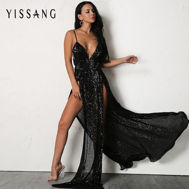 Yissang Summer High Split Sexy Dress Women Sequin Elegant Party V Neck  Dresses Spaghetti Strap Long Dress Prom Female Vestidos 62197c6c0530