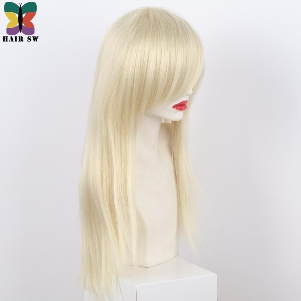HAIR SW Long Straight Syntetisk Paryk Blond Sidodel Med Lång Bangs - Syntetiskt hår - Foto 3
