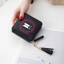 Kpop Mini Short Reißverschluss Kartenmappe BTS 3D PU Leder Geldbörse bts Zubehör Mode Lady Fower Quaste Geldbörsen Anpassen Casual