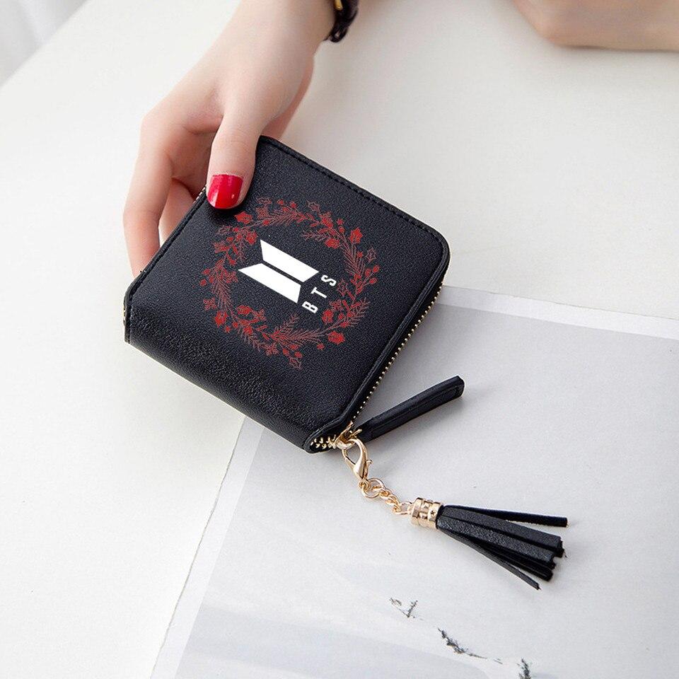 Kpop Mini Short cremallera tarjeta BTS 3D cuero PU bts accesorios de moda señora Fower monederos borla personalizar Casual