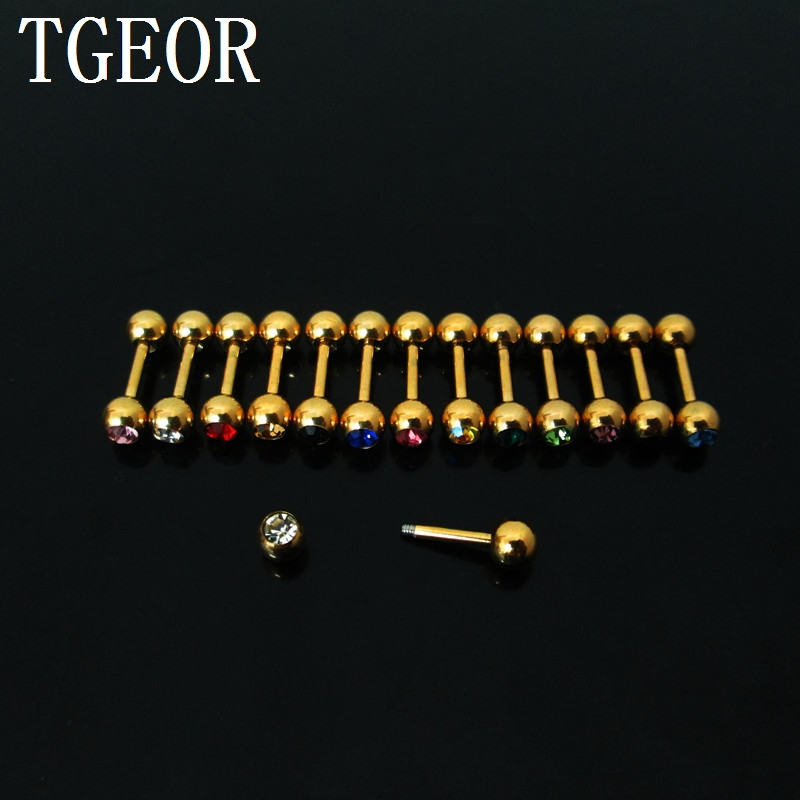 New arrival 1 Pair 1.2*6*4/4mm surgical Stainless Steel gem crystal earring plated gold barbell tragus piercing Charm