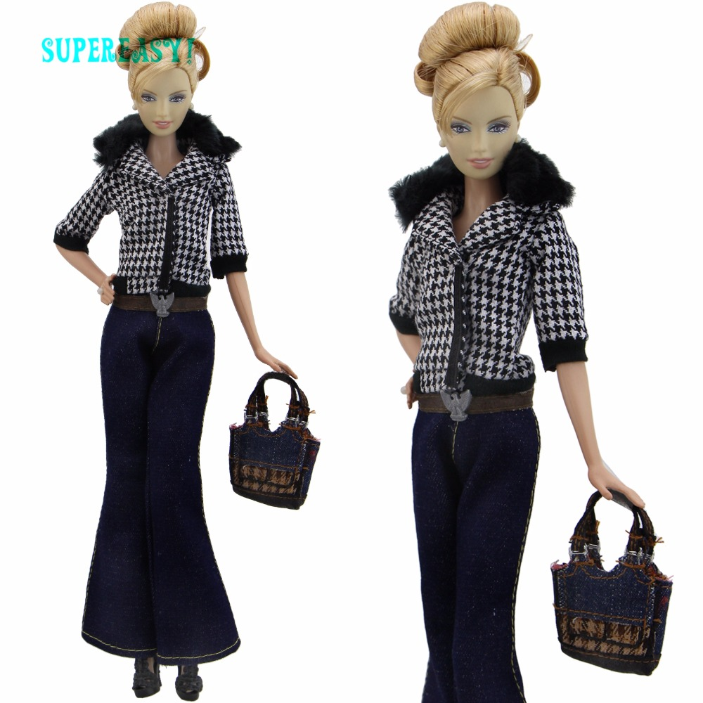 5 In 1 Fashion Outfit Coat Trousers Pants Belt Handbag Shoes High Heels Clothes For Barbie FR Doll Dollhouse Accessories Toys random 10 items   fashion 5 outfit   5