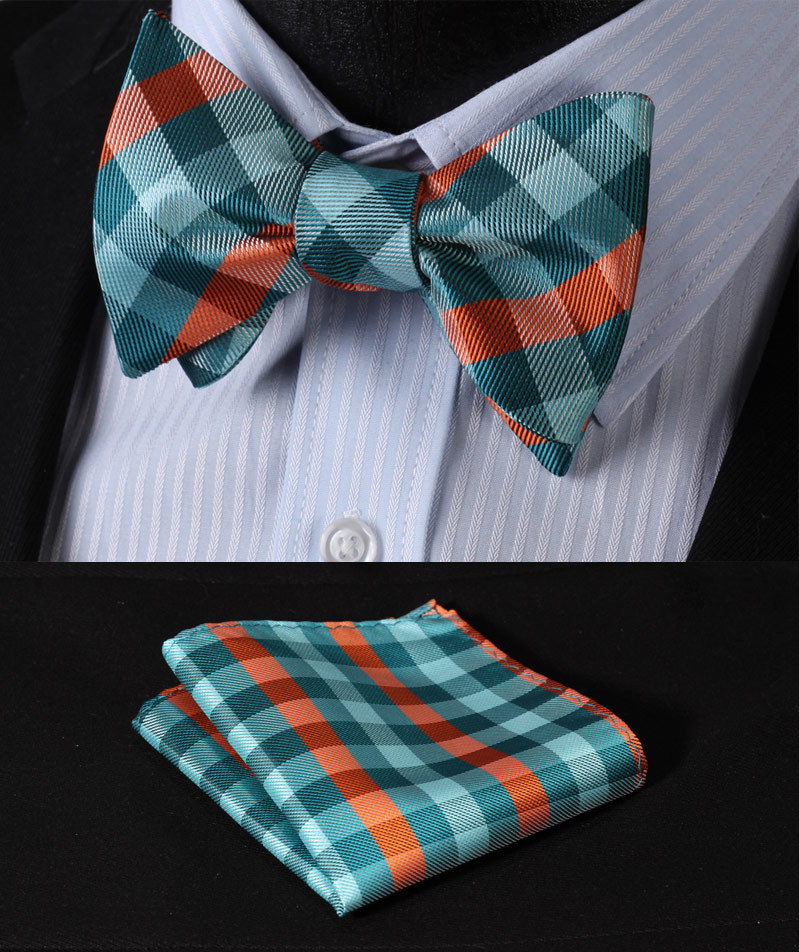 BC3014Q Green Orange Check 100%Silk Jacquard Woven Men Butterfly Self Bow Tie BowTie Pocket Square Handkerchief Hanky Suit Set