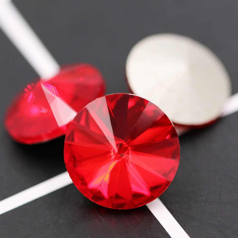 חדש 12mm באיכות גבוהה אדום strass קריסטל זכוכית עגול צורת rhinestones לנייל אמנות חתונה קישוט עגיל שרשרת