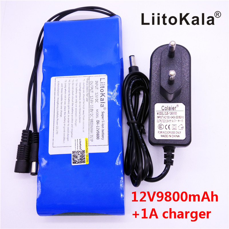HK LiitoKala <font><b>12V</b></font> 9800mAh <font><b>18650</b></font> DC <font><b>12V</b></font> 12.6V Super Rechargeable <font><b>Pack</b></font> EU/US plug adaptor for CCTV camera video <font><b>Battery</b></font> Portable image