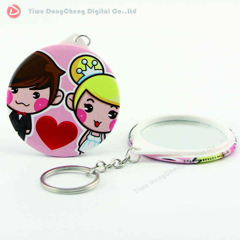 Free shipping e58mm mirror keychain customized  MOQ100pcs  OEM orders welcomed