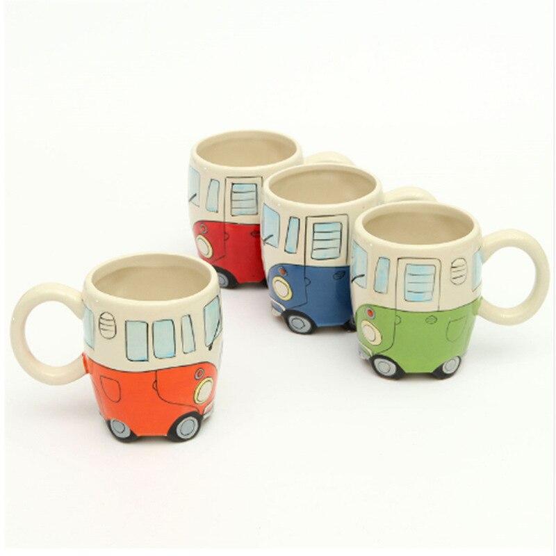 400 ml Criativo Pintura À Mão Dupla Ônibus Retro Xícara de Cerâmica Caneca de Chá de Leite de Café Canecas Drinkware Presentes Novetly