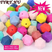TYRY.HU Silicone Beads Icosahedron Better than Hexagon DIY Teething Necklace Pacifiers Chain Pendants Bracelet Loose Beads 14&17
