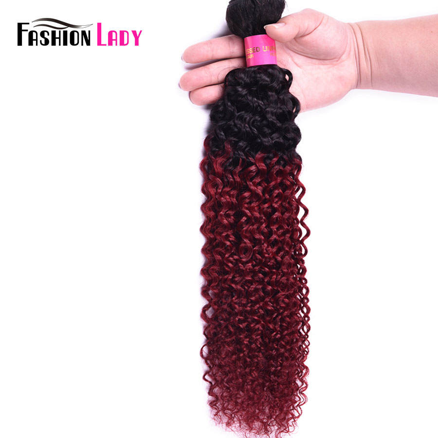 Fashion Lady Pre Colored Indian Curly Human Hair Red Ombre Hair Bundles 1b/burg Hair Weave Burgundy Bundles 1 Piece Non remy