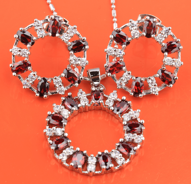 4f09b70c5870 Flores corona redonda granate blanco moda 925 Plata de Ley superposición  joyería fija colgante pendientes para mujer S8413