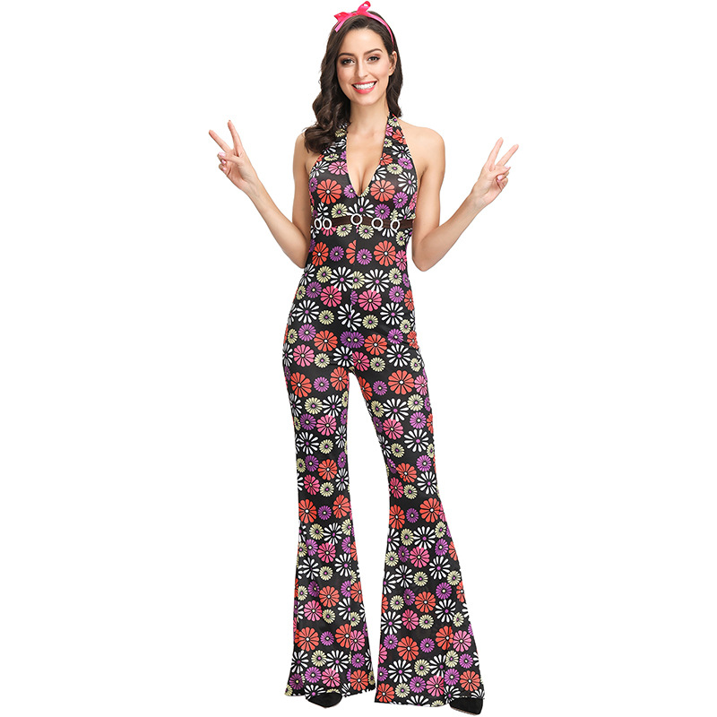 Fancy Hip Hop Costume Cosplay For Adult Couple 90 39 s Retro Floral Party Dress Up Halloween Costume For Men Women Suit in Movie amp TV costumes from Novelty amp Special Use