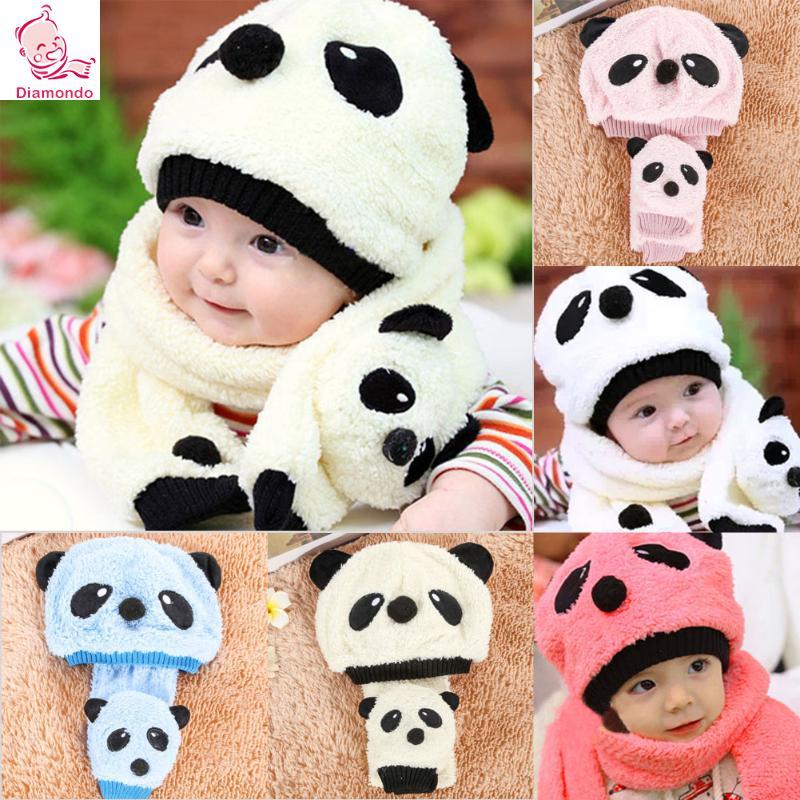 2Pcs/Set Autumn Winter Baby Super Cute Cartoon Panda Warm Hats+Scarf Boys Kids Girls Boys Crochet Beanie Caps