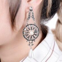Turkish Tribal Gypsy Statement Jewelry Vintage Silver Flower Pattern Pearl Beads Tassel Long Dangle Earrings For Women